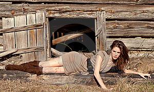Fashion Model By Wooden Shack Stock Images - Image: 22134294