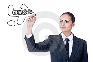 Young Businesswoman With An Empty Diagram Royalty Free Stock Image - Image: 22144046