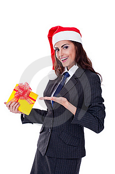 Businesswoman Wearing A Santa's Hat Royalty Free Stock Photo - Image: 22144135