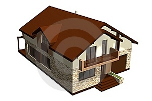 Family House 3D Render Royalty Free Stock Image - Image: 22149076