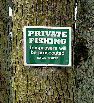 Private Fishing Sign Stock Photography - Image: 22159382