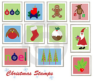 Christmas Stamps Set Stock Images - Image: 22160794