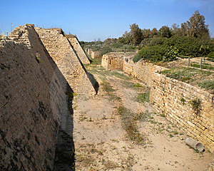 Moat At Caesarea, Israel. Stock Images - Image: 22176504