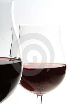 Two wine glasses with red wine Stock Photography