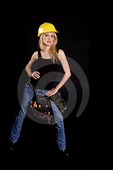 Sexy blond construction worker Stock Image