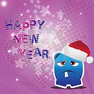 Tarjeta De La Feliz Año Nuevo Con El Monstruo Imagen de archivo libre de regalías - Imagen: 22200476