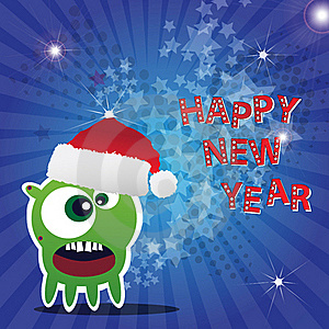 Happy New Year Card With Monster Stock Image - Image: 22200521