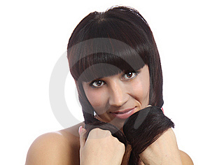 A Young Beautiful Woman With Long Curly Hairs Royalty Free Stock Image - Image: 22200636