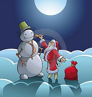 Santa And Snowman Stock Photo - Image: 22211900