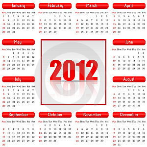 Great Calendar For 2012 Royalty Free Stock Image - Image: 22235196