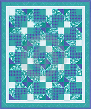 Blue Green Quilt Stock Photo - Image: 22239440