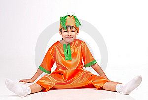 Cheerful Boy In Carrot Fancy Dress Stock Images - Image: 22239594