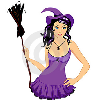 Sexy Witch Girl With Broom Royalty Free Stock Photography - Image: 22241687