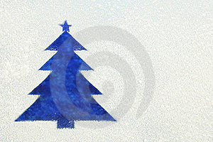Christmas Tree On A Frozen Window Stock Photography - Image: 22243042