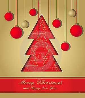 Gold And Red Christmas Postcard Royalty Free Stock Images - Image: 22245059