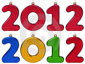 New Year 2012 Baubles In Form Of Numbers Stock Images - Image: 22267794