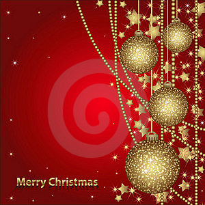 Christmas Card With Gold Balls Stock Images - Image: 22271354