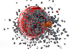 Bullet Destroyed Sphere Royalty Free Stock Image - Image: 22274546