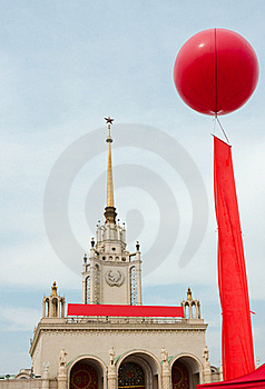 Celebration Balloon And Red Flag Royalty Free Stock Image - Image: 22283416