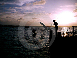Girls On Pier Stock Image - Image: 22298781
