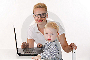 Young Teacher With A Small Pupil Royalty Free Stock Images - Image: 22300639