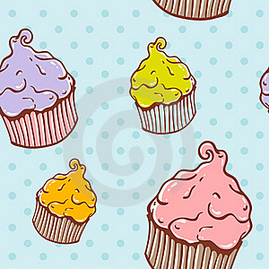 Cute Vintage Cupcake Seamless Texture Stock Images - Image: 22300804