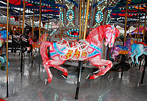Pink Carousel Horse Stock Images - Image: 22302564