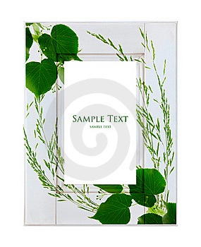 White Frame With Green Leaves Royalty Free Stock Photo - Image: 22317205