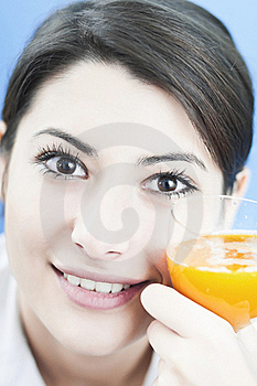 Happy Woman With The Orange Juice Stock Images - Image: 22344984