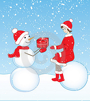Snowman And Girl Royalty Free Stock Photography - Image: 22356257