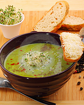 Green pea soup Stock Image