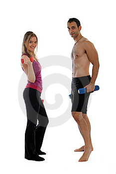 Woman With Personal Trainer Royalty Free Stock Image - Image: 22382286