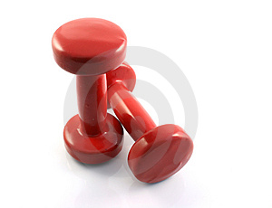 Red Dumbbells II Stock Images