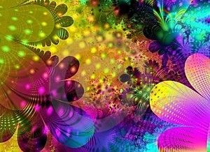 Un astratto fiore arte texture di sfondo con cerchi, linee e punti in più colori azzurro, rosa, verde, giallo e rosso.
