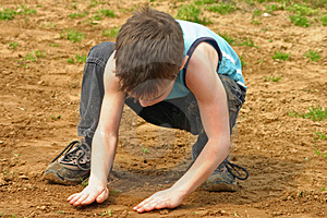Boy Playing In The Dirt Stock Photo - Image: 2248450