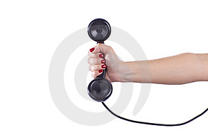 Retro Phone Handset In A Woman's Hand Royalty Free Stock Photography - Image: 22403097