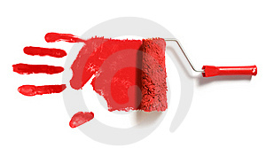 Paint Roller With Handprint Royalty Free Stock Photography - Image: 22409167