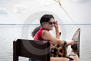 Young Girl Sailing House Boat Stock Photo - Image: 22410670