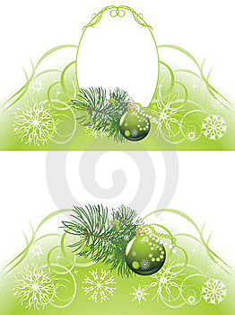 Christmas Tree With Green Ball. Two Backgrounds Stock Image - Image: 22412251