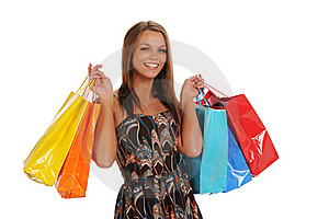 Young Womnan Holding Shopping Bags Royalty Free Stock Image - Image: 22414036