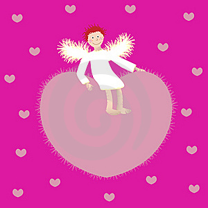 Angel And The Heart On A Pink Background Stock Photography - Image: 22418372