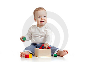 Pretty Baby With Color Educational Toy Royalty Free Stock Photo - Image: 22429195