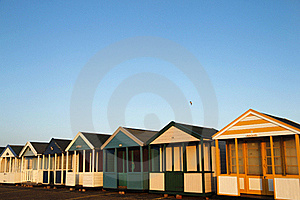 Beach Huts In Golden Sunlight Royalty Free Stock Photos - Image: 22446738