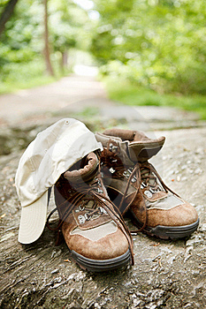 Hiking Boots And Hat In The Woods Stock Photos - Image: 22450603