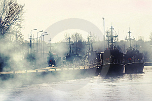 Group Of Millitary Ships On Harbour Stock Image - Image: 22454591