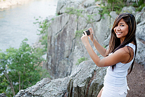 Woman Photographing Scenic River Stock Photos - Image: 22455523