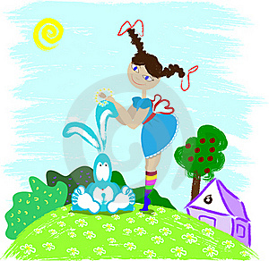 Girl And Hare Stock Photo - Image: 22470910