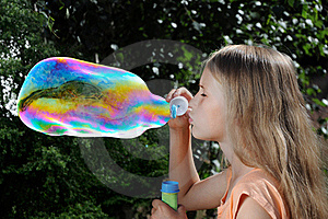 Blowing Soap Bubbles Royalty Free Stock Images - Image: 22477729