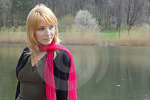 Lnely Girl On The Lake. Stock Image - Image: 2258061