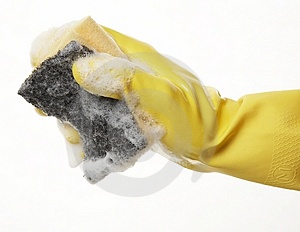 Hand in rubber glove 07 Royalty Free Stock Images